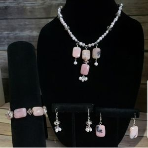 Jewelry - Rhodonite & Pearl in sterling 4pc set signed